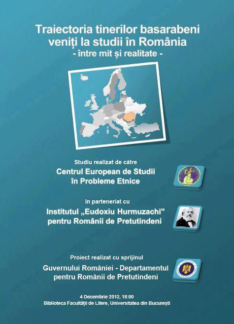 """Lansarea studiului """"Traiectoria tinerilor basarabeni veniți la studii în România"""""""