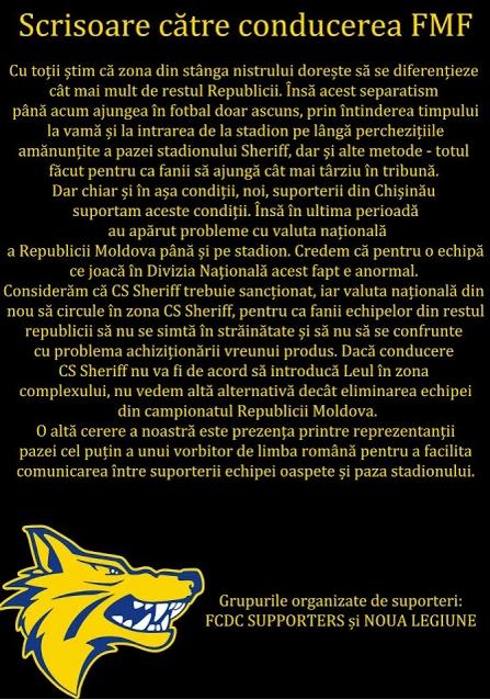 Suporterii FC Dacia semnalează extinderea separatismului