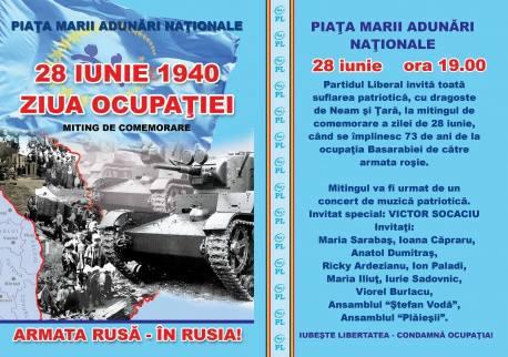 Miting de comemorare a zilei de 28 iunie la Chișinău