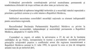 Declarația de retragere a trupelor ruse de pe teritoriul Rep. Moldova, adoptată în Parlamentul de la Chișinău