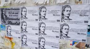 Zeci de afișe cu versuri și citate din Mihai Eminescu au apărut pe străzile din Nisporeni