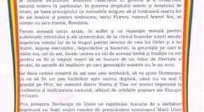 Declarațiile de unire se țin lanț: Și Floreni vrea cu România!