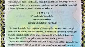 """""""Cu dragoste de neam și țară în An Centenar"""", vot pentru Unirea cu România și demers către București"""