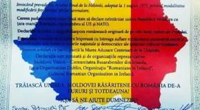 """Românii de pe ambele maluri ale Prutului stabiliți în Irlanda: """"Trăiască Unirea Moldovei răsăritene cu România!"""""""