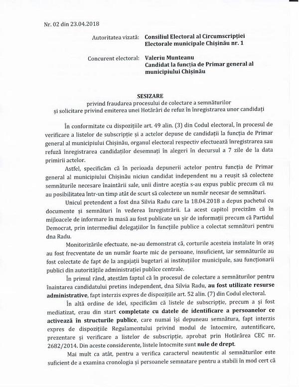 Pe Pagina Sa De Facebook, Valeriu Munteanu Scrie Că A Depus O Sesizare Prin  Care A Solicitat Să Nu Fie înregistrată Silvia Radu, în Baza Actelor  Prezentate ...
