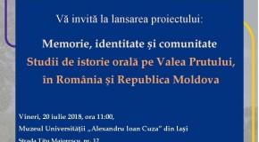 """Lansare inedită la Iași: """"Memorie, identitate și comunitate. Studii de istorie orală pe Valea Prutului în România și Republica Moldova"""""""
