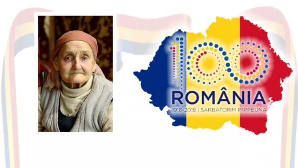 Colaj foto. În stâga imaginii: chipul doamnei Maria Marinescu. În dreapta: harta României Mari.