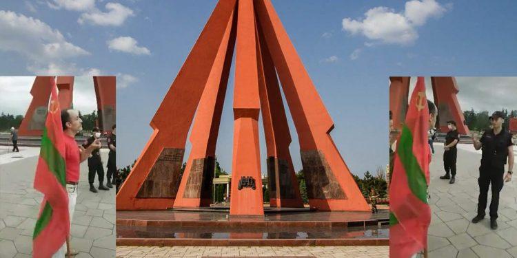 Sfidător: Drapelul regiunii separatiste transnistrene, arborat la Chișinău